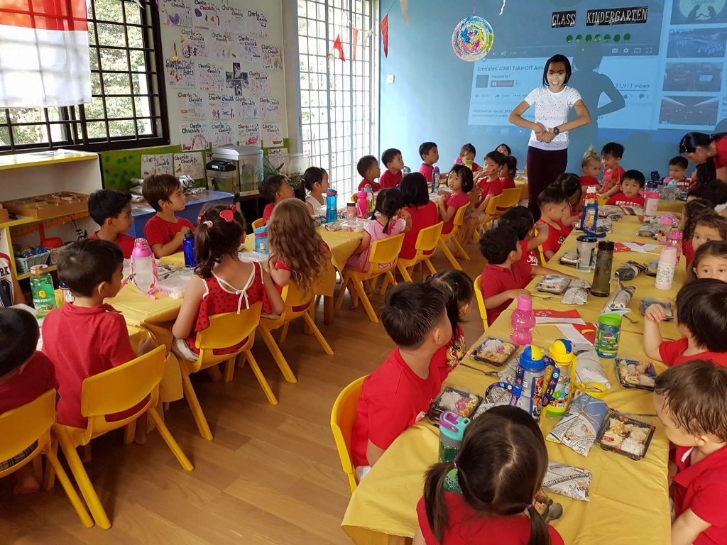 classroom full of young children
